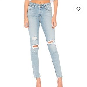LEVI'S 721 HIGH RISE SKINNY JEANS IN WORN AND TORN